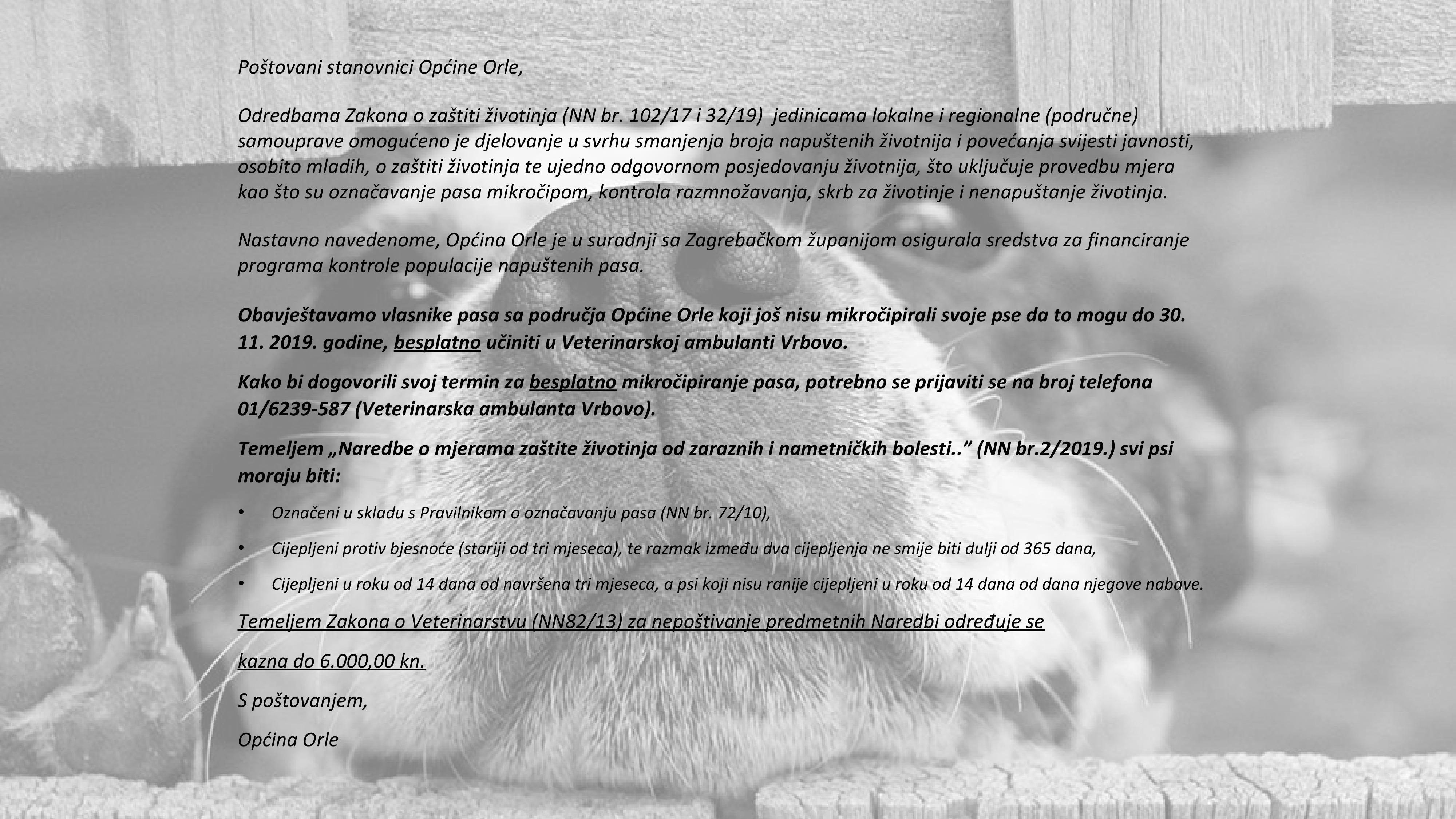 Besplatno mikročipiranje pasa
